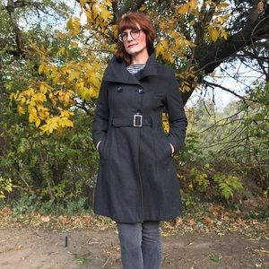 Guess Charcoal Gray Wool Coat